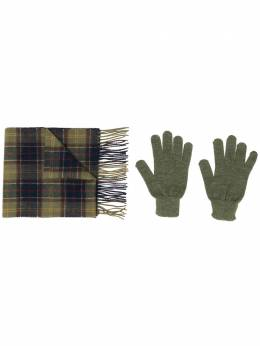 Barbour комплект из клетчатого шарфа и перчаток BAACC1131