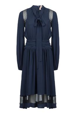 Темно-синее платье с полупрозрачными вставками No. 21 35165289