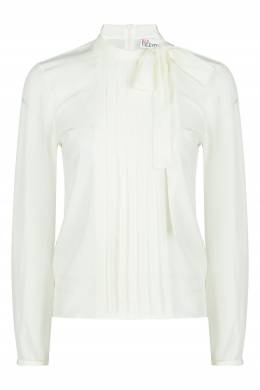 Белая блузка с отделкой и бантом Red Valentino 986165436