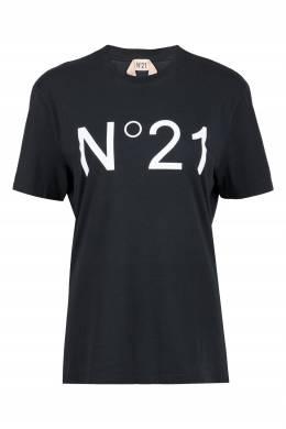 Черная футболка с логотипом No. 21 35165343