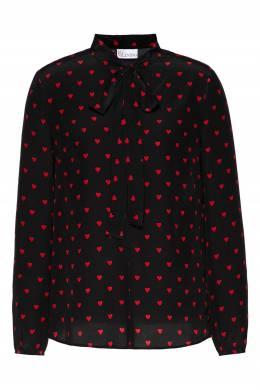 Черная блузка с узорами и воротником-аскот Red Valentino 986165438