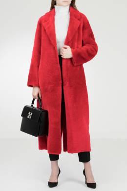 Красное пальто с меховой отделкой Red Valentino 986165397