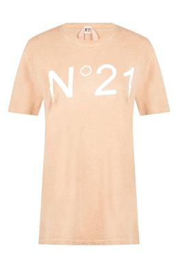 Бежевая футболка с логотипом No. 21 35165337