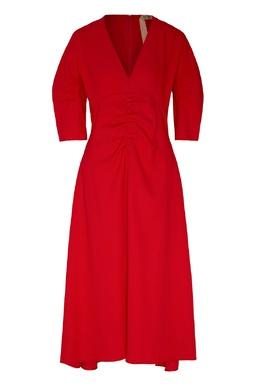 Красное платье-миди с V-вырезом и драпировкой No. 21 35163974