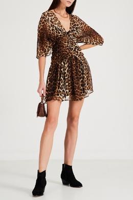 Шелковое платье-мини с леопардовым узором No. 21 35163978