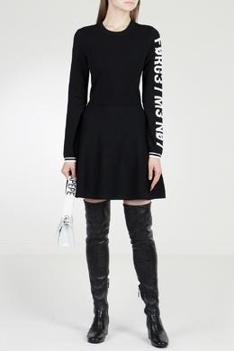 Черное трикотажное платье-мини с логотипом Red Valentino 986165407