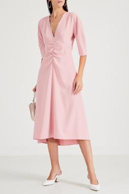 Розовое платье-миди с драпировкой No. 21 35163980