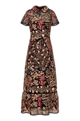 Черное ажурное платье-макси с вышивкой Red Valentino 986165429