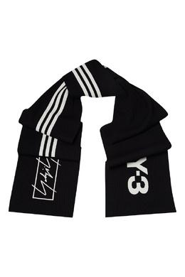 Черный шарф с фирменной символикой Y-3 1044163960