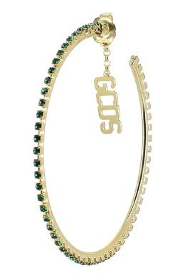 Золотистые серьги-кольца с зелеными кристаллами GCDS 2981165465