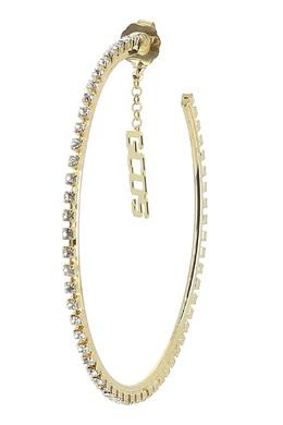 Золотистые серьги-кольца с прозрачными кристаллами GCDS 2981165464