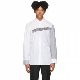 Neil Barrett White Stripe Punked Modernist Slim-Fit Shirt BCM1260 M128C