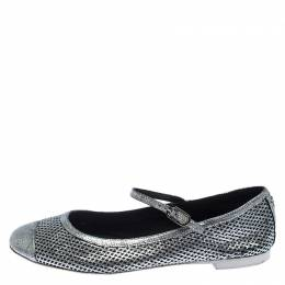 Chanel Silver Perforated Leather Cap Toe Ankle Strap Ballet Flats Size 38 243540
