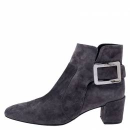 Roger Vivier Grey Suede Polly Side Buckle Ankle Boots Size 37