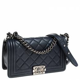 Chanel Navy Blue Quilted Leather Medium Boy Flap Bag 241251