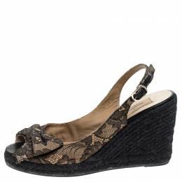 Valentino Black/Beige Lace Bow Slingback Wedge Espadrille Sandals Size 39.5 242924