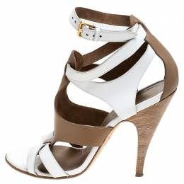 Hermes White/Brown Leather Strappy Open Toe Sandals Size 38 242870