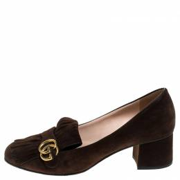 Gucci Brown Suede Leather GG Marmont Block Heel Pumps Size 42