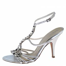 Baldinini Metallic Silver Leather Crystal Embellised Ankle Sandals Size 39 243265