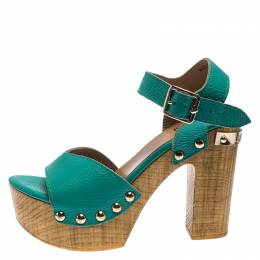 Moschino Green Leather Platform Ankle Strap Sandals Size 38 243261