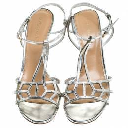 Sergio Rossi Metallic Silver Strappy Sandals Size 40 243757