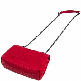 Bottega Veneta Red Intrecciato Leather Baby Olympia Bag 243396
