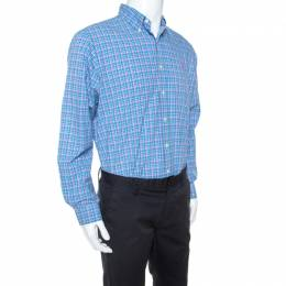Ralph Lauren Blue Plaid Cotton Button Down Collar Shirt L 241632