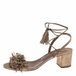 Aquazzura Gold Suede Wild Thing Block Heel Sandals Size 41 240655