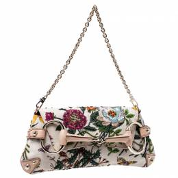 Gucci Multicolor Floral Print Canvas and Beaded Horsebit Chain Clutch 241719