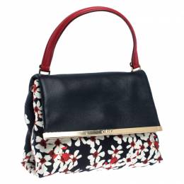 Carolina Herrera Multicolor Floral Print Nylon and Leather Camelot Top Handle Bag 240010