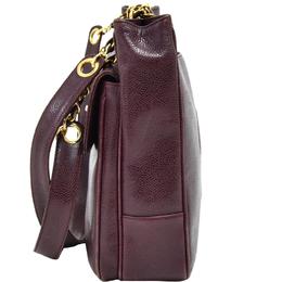 Chanel Purple Caviar Leather Front Flap Pocket Plum Medium Shoulder Bag 230103