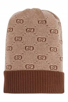 Коричневая шапка с монограммами Gucci Kids 1256164863