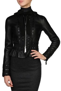 Черная кожаная куртка с ажурной отделкой Dsquared2 1706165044