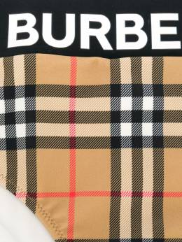 Burberry Kids бикини в клетку с логотипом 8008773