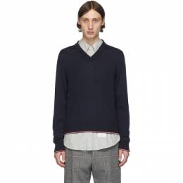Thom Browne Navy Cashmere Classic V-Neck Pullover MKA260A-00011