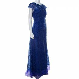 Tadashi Shoji Royal Blue Lace Cap Sleeve Milien Evening Dress L