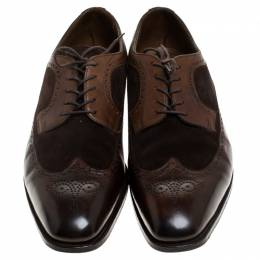 Ralph Lauren Brown Suede Leather Brogue Lace Up Oxfords Size 43.5 243985