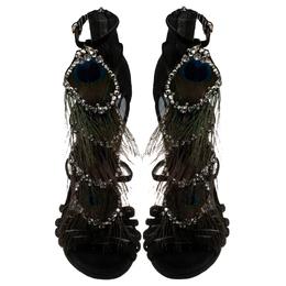 Sergio Rossi Black Suede Crystal And Peacock Embellished Platform Strappy Platform Sandals Size 38 243870