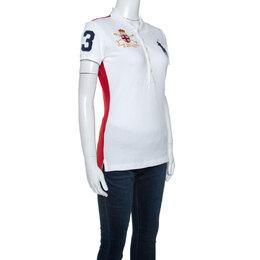 Ralph Lauren White Cotton Pique Logo Detail Skinny Polo T-Shirt M 243121