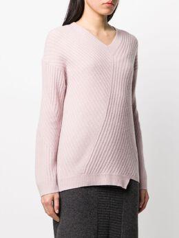 Pringle Of Scotland свитер асимметричного кроя в рубчик WTF057