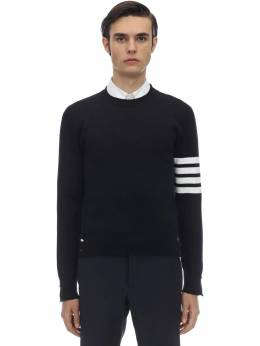 Milano Stitch Knit Cotton Crew Sweater Thom Browne 71ILA9032-NDE10