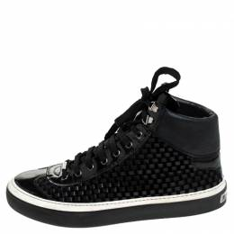 Jimmy Choo Black Woven Leather Argyle High Top Sneakers Size 42