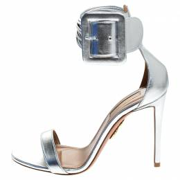 Aquazzura Silver Leather Casablanca Ankle Cuff Sandals Size 36.5 244224