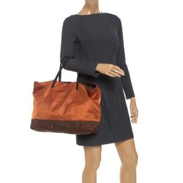 Etro Orange Paisley Nylon Reversible Shopper Tote 242036