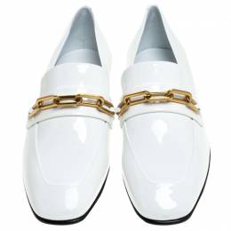 Burberry White Patent Leather Chillcot Slip On Loafers Size 38.5 244370