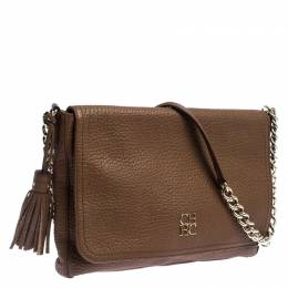 Carolina Herrera Brown Leather Tassel Shoulder Bag 242086