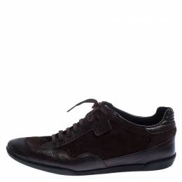 Gucci Brown Dark Suede and Leather Lace-up Low Top Sneakers Size 44 239916