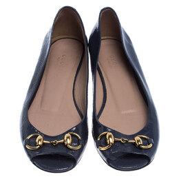 Gucci Purple Microguccissima Patent Leather Horsebit Peep Toe Ballet Flats Size 35 240577