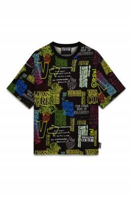 Черная футболка с надписями Versace Jeans 3025165805