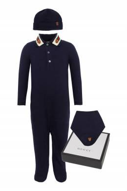 Комплект из трех предметов синего цвета Gucci Kids 1256165613